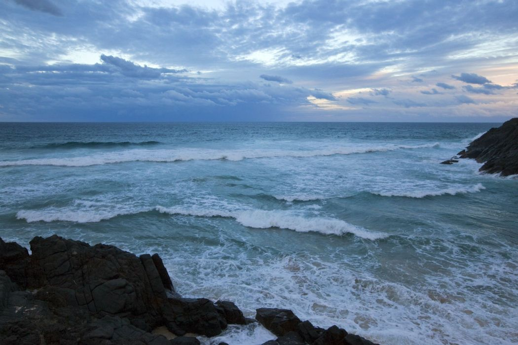 STORM weather rain sky clouds nature ocean sea waves wallpaper