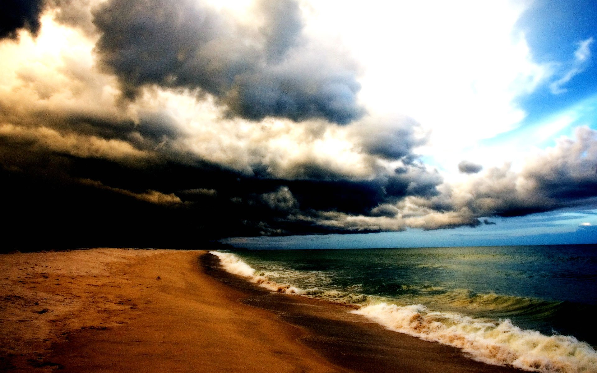 Beach Thunderstorm Wallpaper: STORM Weather Rain Sky Clouds Nature Sea Ocean Waves Beach