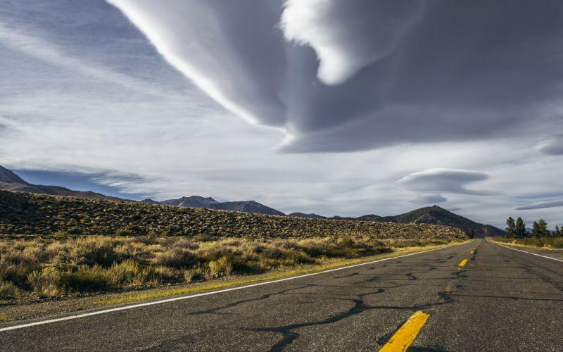 STORM weather rain sky clouds nature lightning landscape road wallpaper