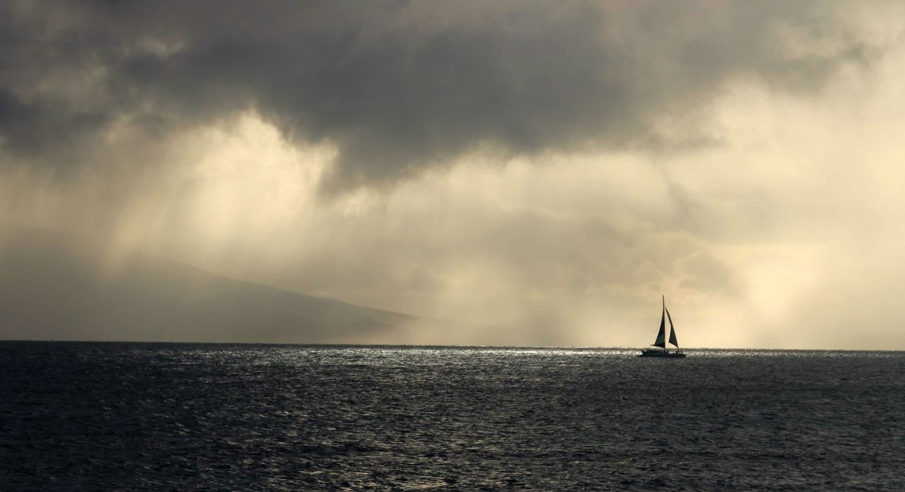 STORM weather rain sky clouds nature sea ocean waves sailing boat ship wallpaper