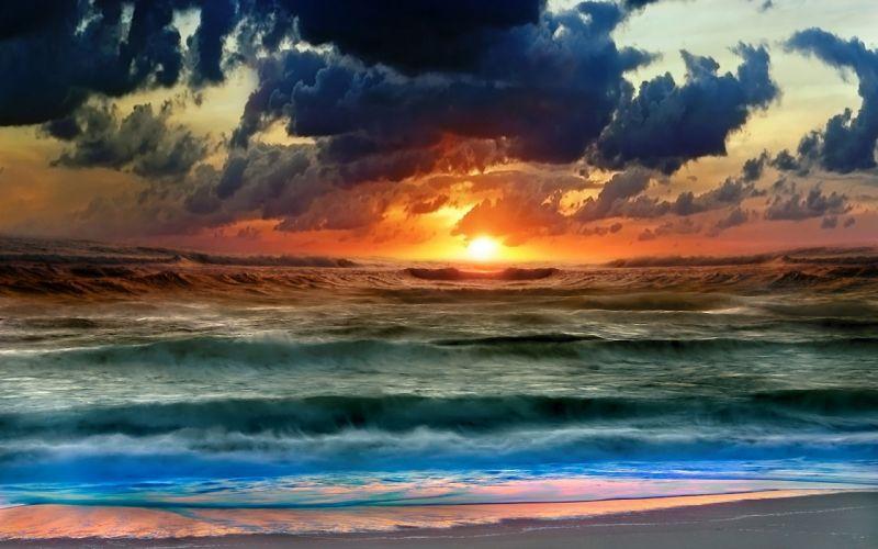 STORM weather rain sky clouds nature sea ocean waves beach sunset sunrise wallpaper