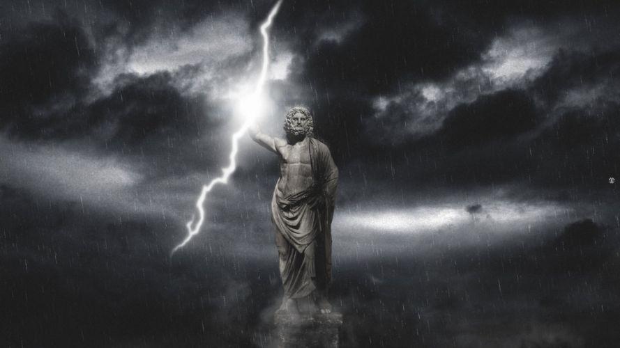 STORM weather rain sky clouds nature lightning gods god zeus fantasy wallpaper