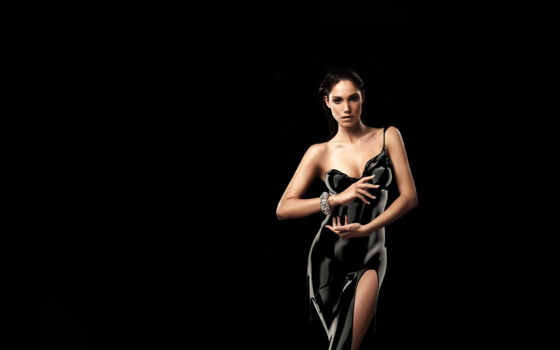 mujer morena modelo posado vestido negro wallpaper