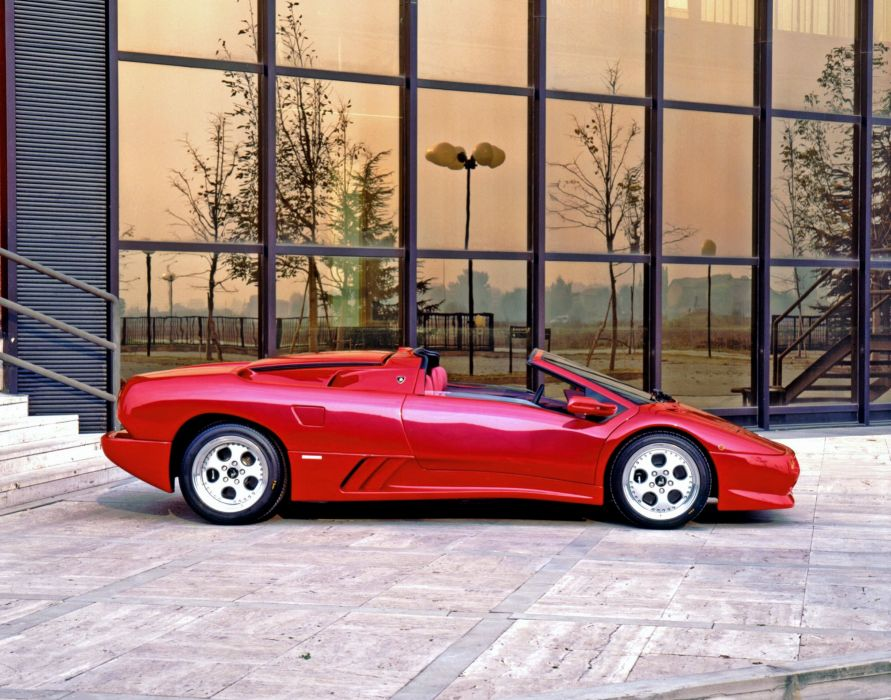 Lamborghini Diablo VT Roadster cars supercars red 1995 wallpaper