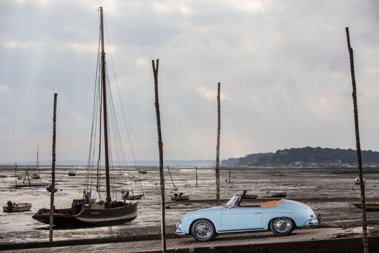 cars Porsche 356A 1600 Super Convertible Drauz US-spec (T2) blue 1958 wallpaper