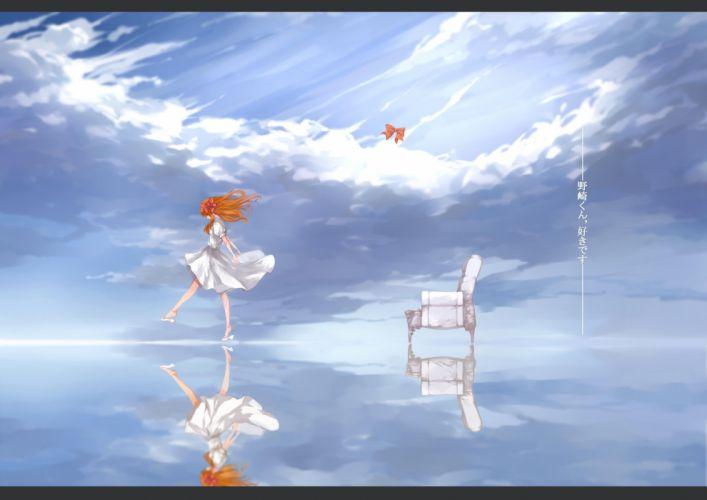 gekkan shoujo nozaki-kun sakura anime long hair clouds dress girl wallpaper