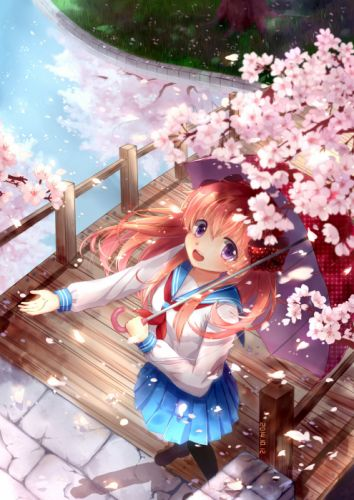 gekkan shoujo nozaki-kun sakura flower long hair anime series cute girl guy beauty school uniform wallpaper