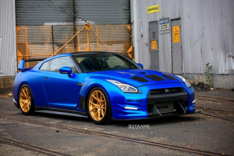 Strasse Wheels Aplha-12 nissan GTR cars coupe blue wallpaper