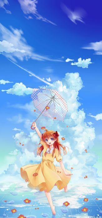 sakura anime girl dress flower clouds wallpaper