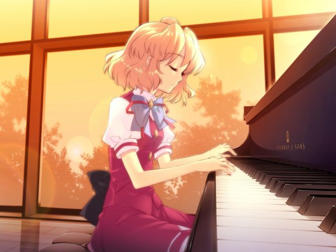 blonde hair dress long hair moon night piano ribbon short hair sunset wallpaper