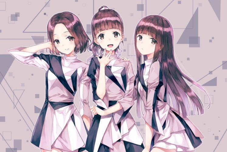 anime girl blush brown eyes brown hair dress group happy long hair ponytail smile wallpaper