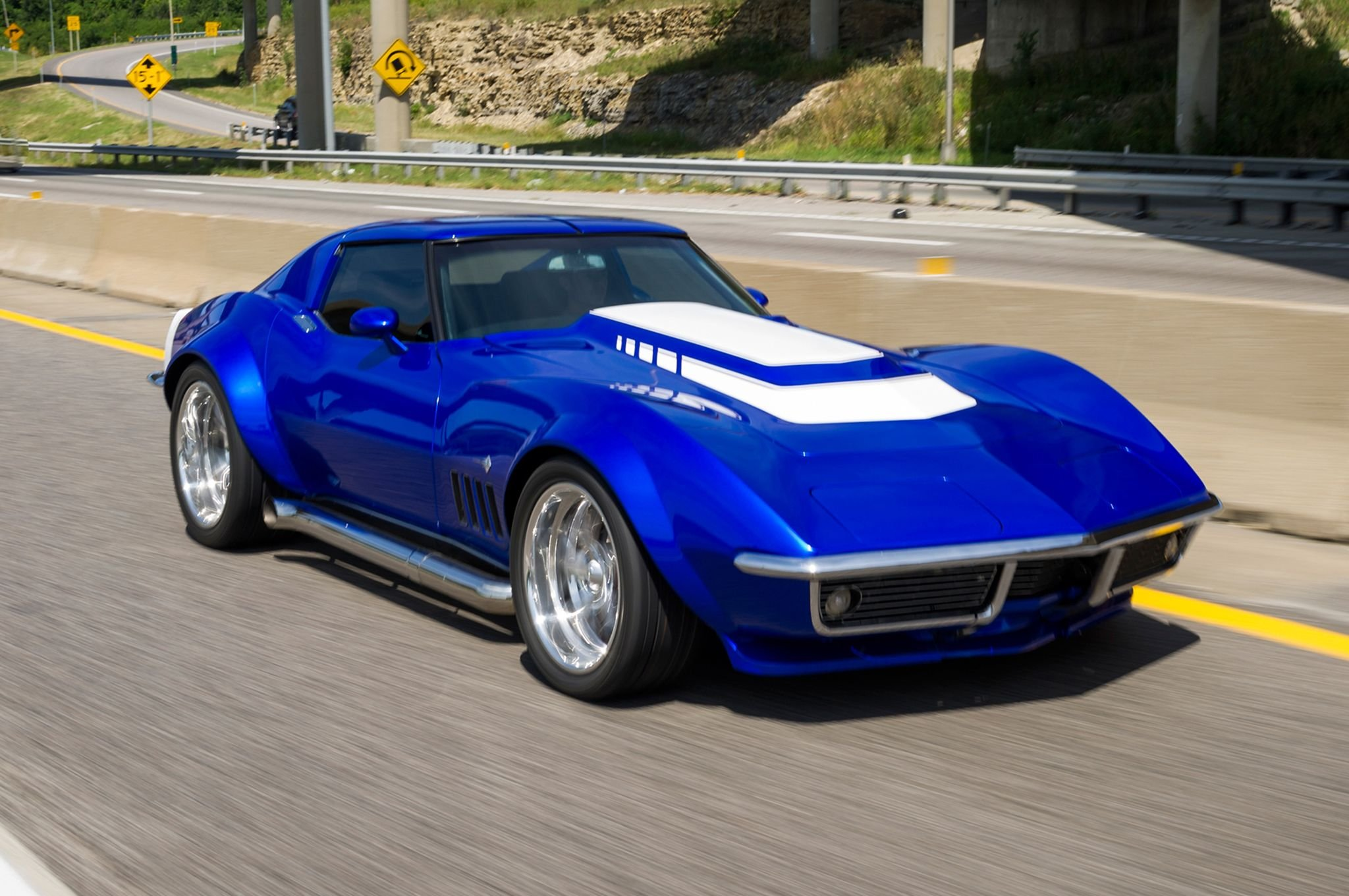 1969 Chevrolet Corvette Stingray Blue C3 Cars Wallpaper