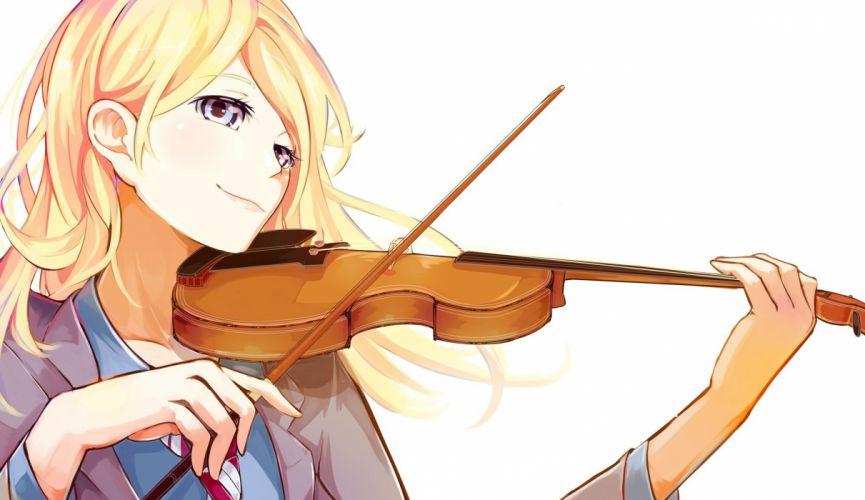 anime girl Your Lie in April blonde hair blue eyes long hair smile violin wallpaper
