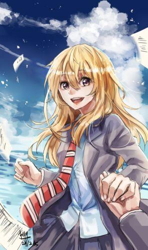 anime girl Your Lie in April blonde hair brown eyes happy holding hands long hair seifuku sky tie water wallpaper