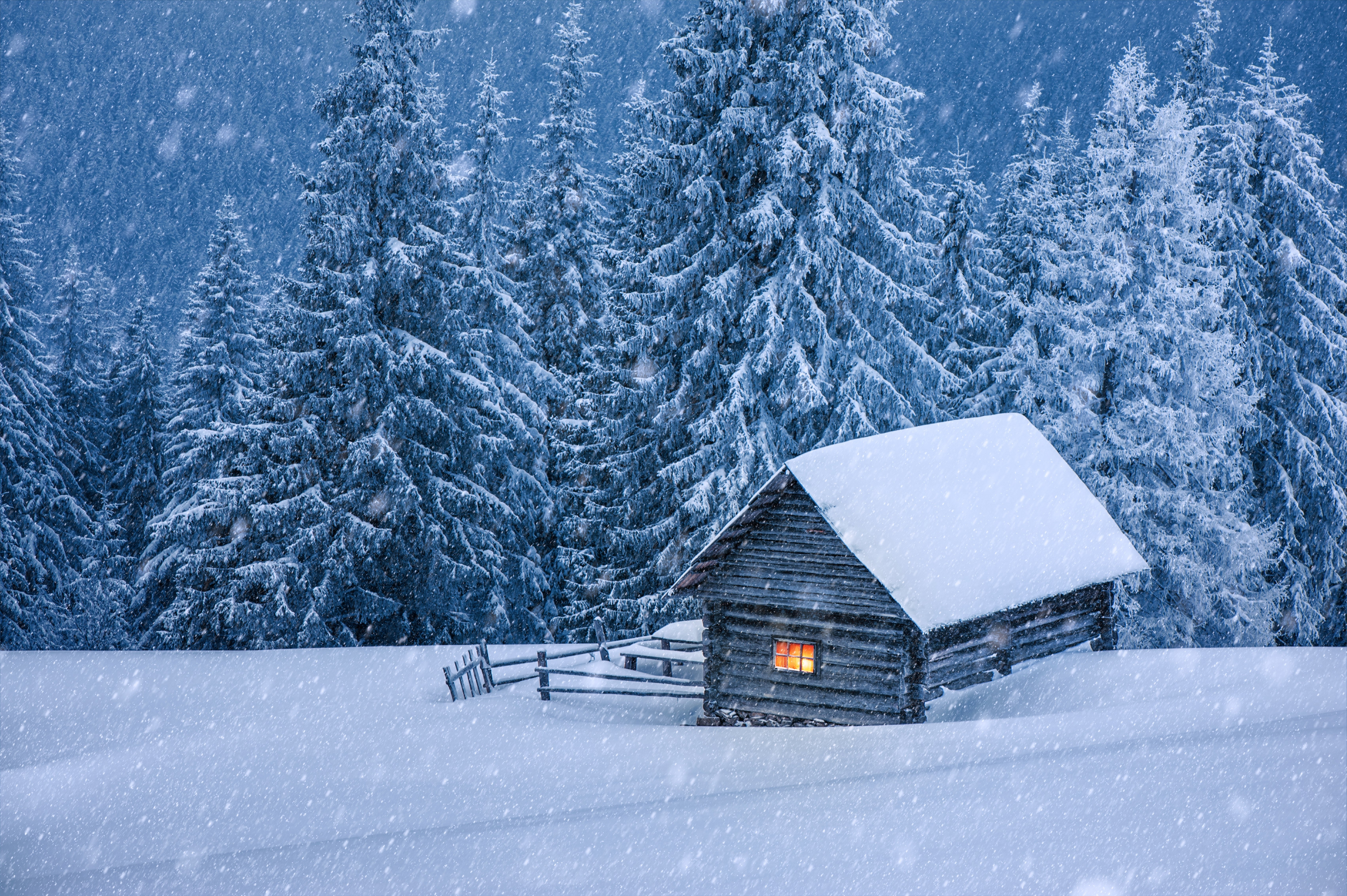 Nature Hut Forest Snow Winter Trees Cabin Wallpaper 6810x4530 842696 Wallpaperup
