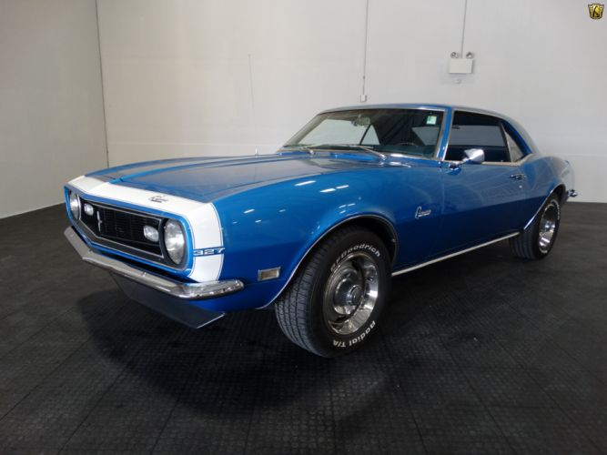 1968 Chevrolet Camaro 327 blue cars wallpaper