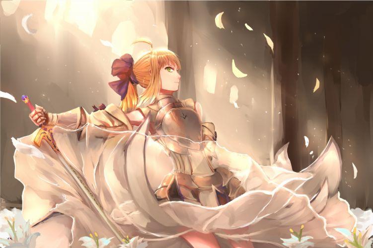 ahoge blonde hair dress flower gloves green eyes ponytail ribbon short hair sword warrior wallpaper
