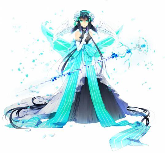 black hair choker dress flower gloves green eyes hair band long hair pointy ears wings wallpaper