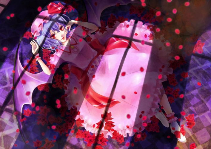 anime girl blue hair dress flower red eyes short hair wings wallpaper