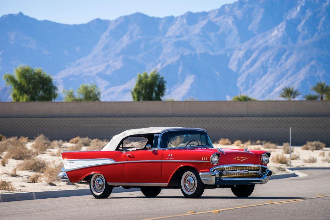 1957 Chevrolet Bel Air Convertible Fuel Injection 2434-1067D belair retro muscle wallpaper