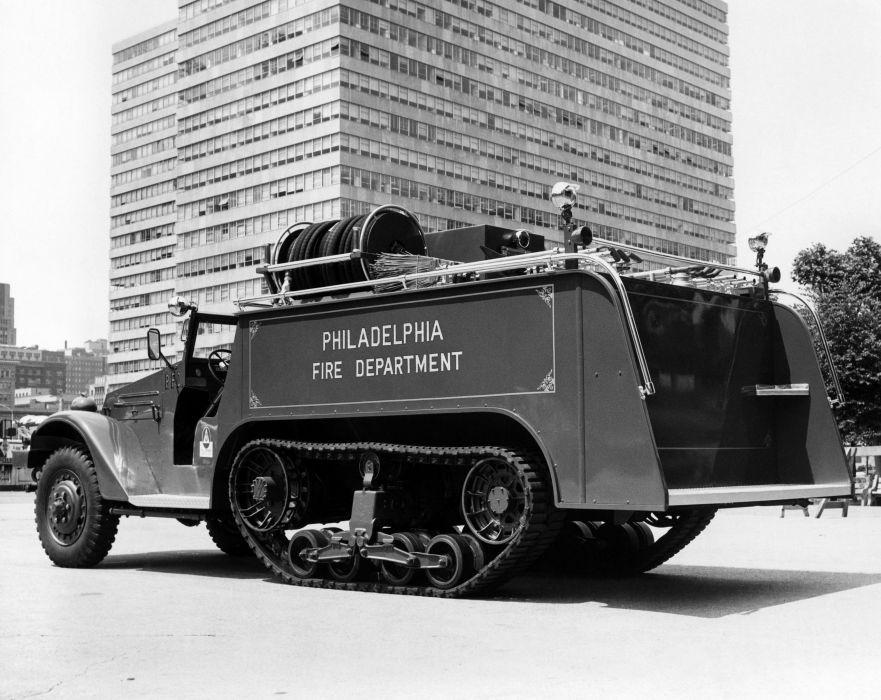 White Half-track Firetruck semi tractor emergency vintage retro tank wallpaper