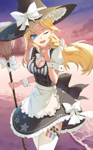 anime girl apron beach blonde hair blue eyes braids dress happy hat long hair ribbon sky stars tattoo thigh highs water wink witch wallpaper
