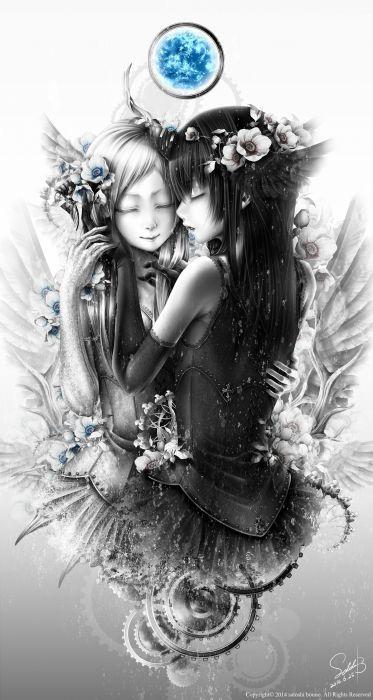 anime girl black hair crying dress flower gloves long hair smile white hair wings wallpaper