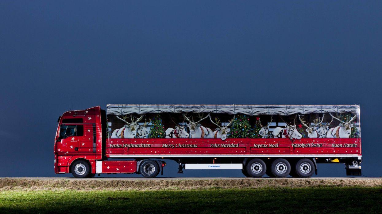 camion rojo navidad adornos wallpaper