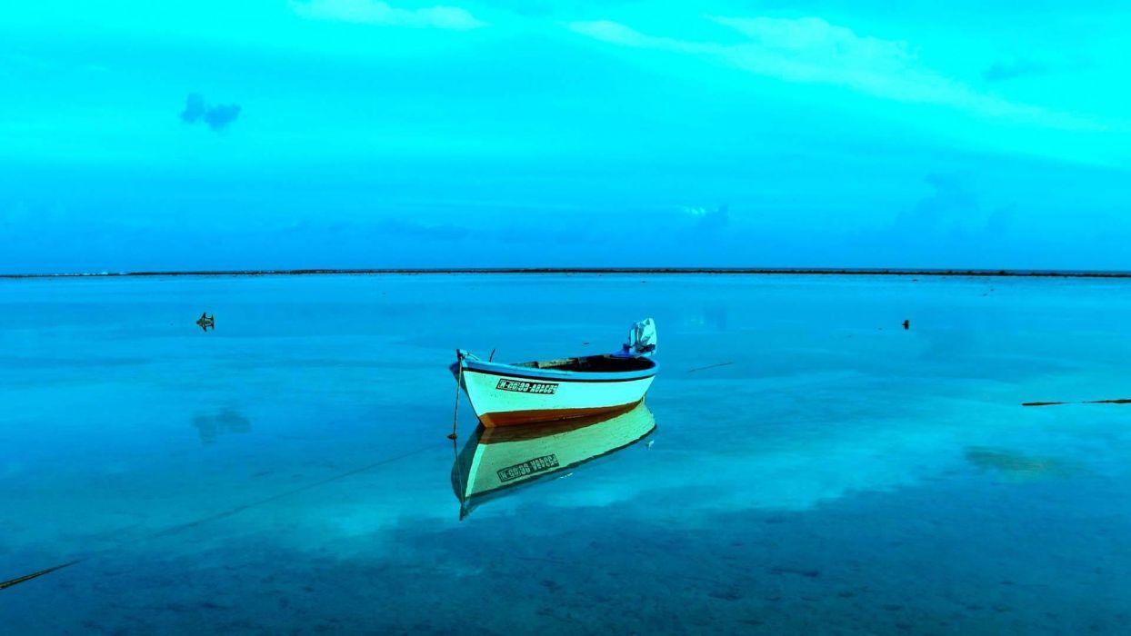 bote barco mar motor wallpaper
