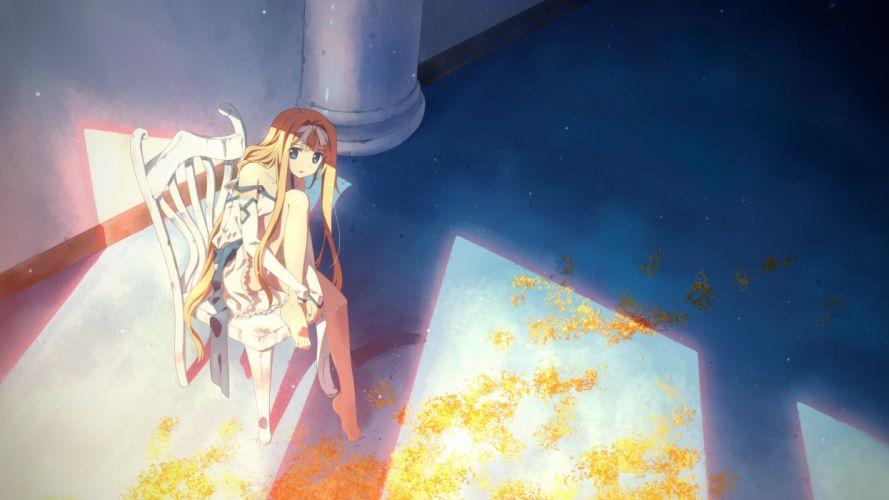 anime girl barefoot blonde hair blue eyes dress hair band long hair ribbon wallpaper