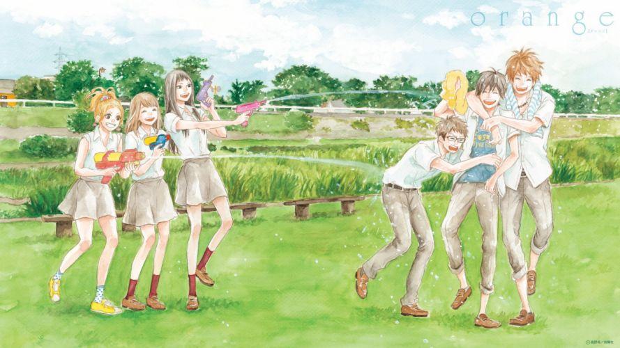 anime girls guys black eyes black hair blonde hair brown eyes brown hair glasses group happy hug jewelry long hair pants ponytail short hair sky smile summer towel tree wallpaper
