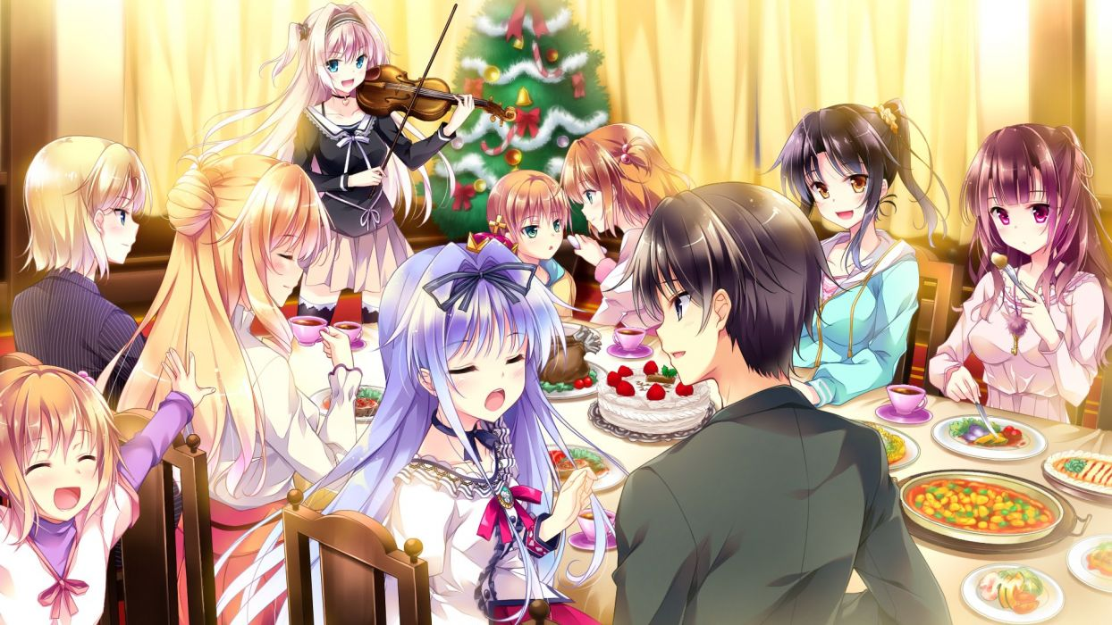 anime girl cake child choker christmas eating food green eyes grey eyes group hair band happy heart hoodie long hair orange eyes pink hair purple hair wallpaper