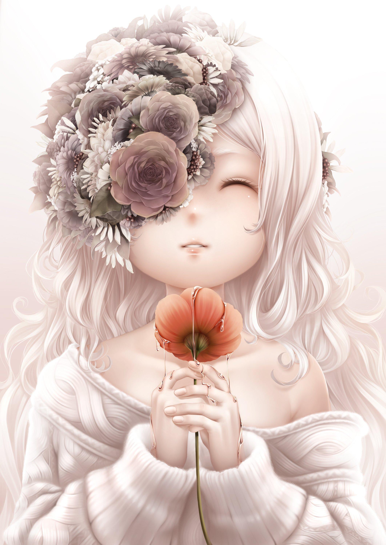 anime girl flower long hair sweater water white hair wallpaper