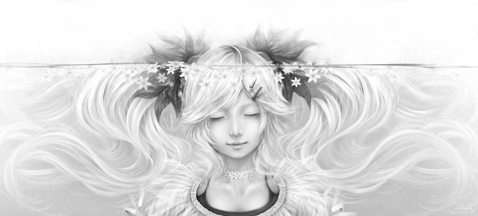 anime girl flower hairpins long hair monochrome ribbon smile twin tails underwater wallpaper