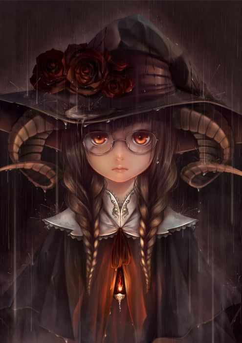 anime girl braids brown hair fire flower freckles glasses hat horns orange eyes rain twin tails wallpaper