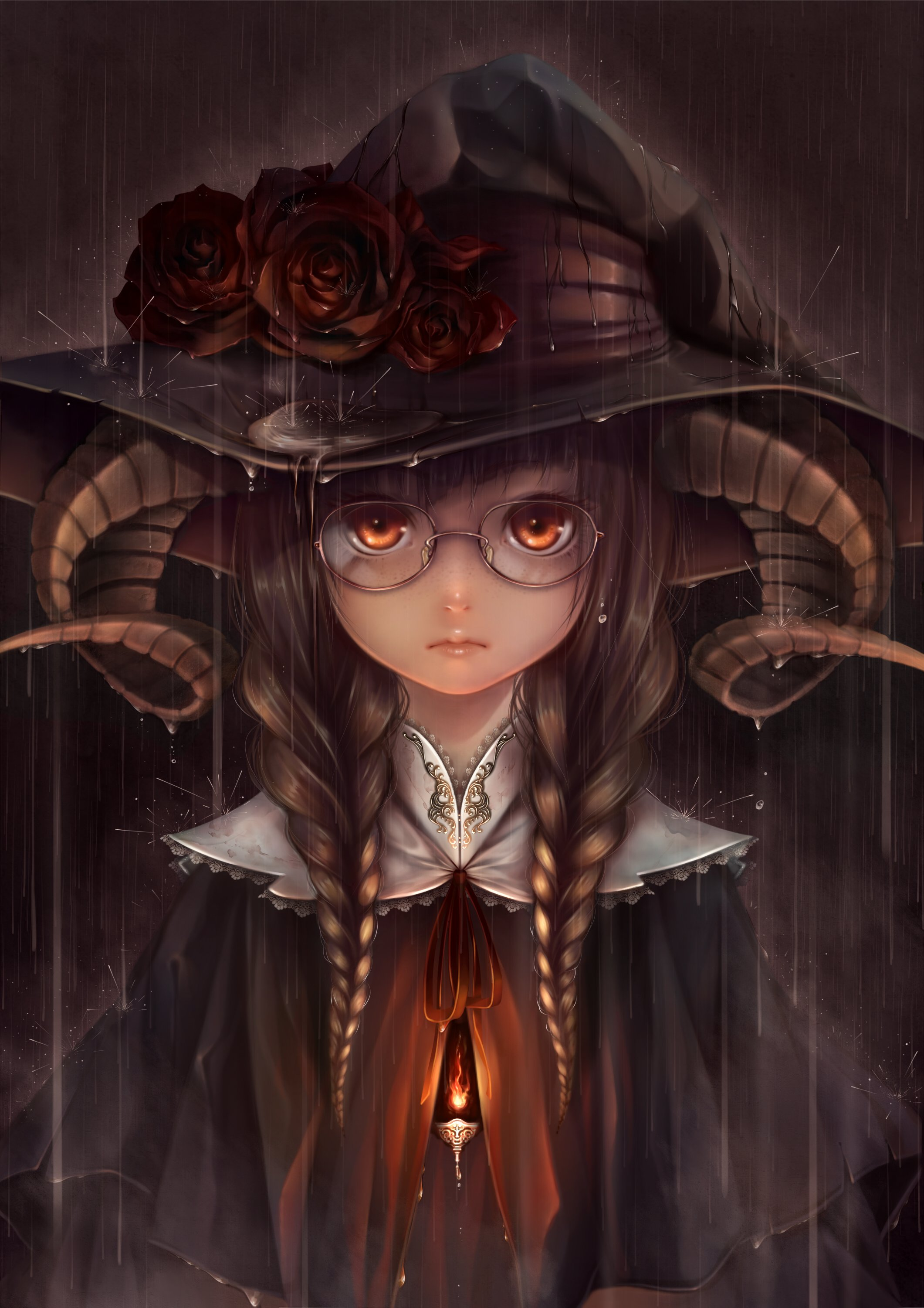 Anime girl braids brown hair fire flower freckles glasses hat horns orange eyes rain twin tails wallpaper 2121x3000 848585 wallpaperup