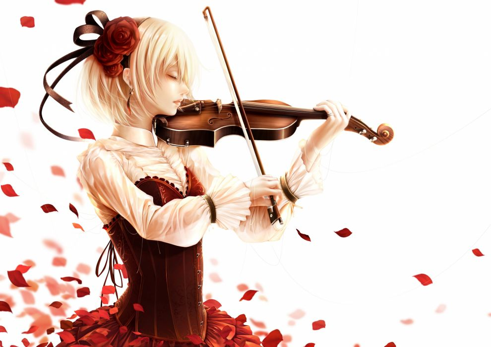 anime girl blonde hair dress flower hair band jewelry ribbon short hair violin wallpaper