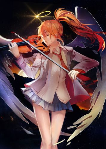 anime girl blonde hair long hair ponytail seifuku smile tenshi tie violin wallpaper