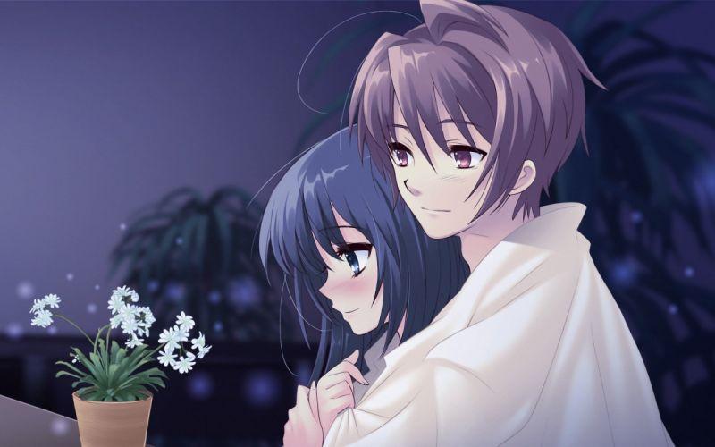 anime couple girl boy cute long hair love wallpaper