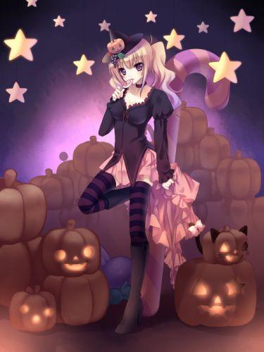 anime girl blonde hair blush eating halloween hat long hair neko mimi purple eyes ribbon skirt stars sweets tail thigh highs twin tails witch wallpaper