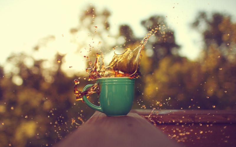 spray blur close-up coffee drop cup wallpaper