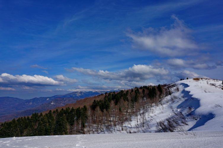 snow winter top mountain panorama sky clouds wallpaper