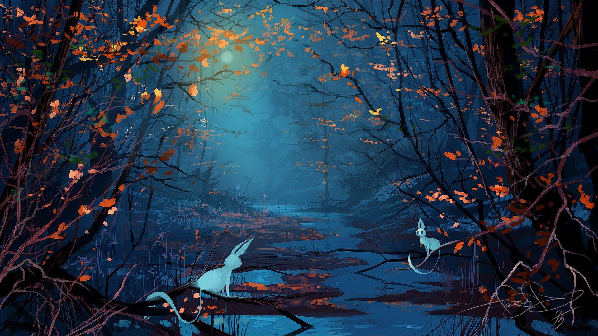 Fantasy Art Forest Trees Animals Night Moon Wallpaper