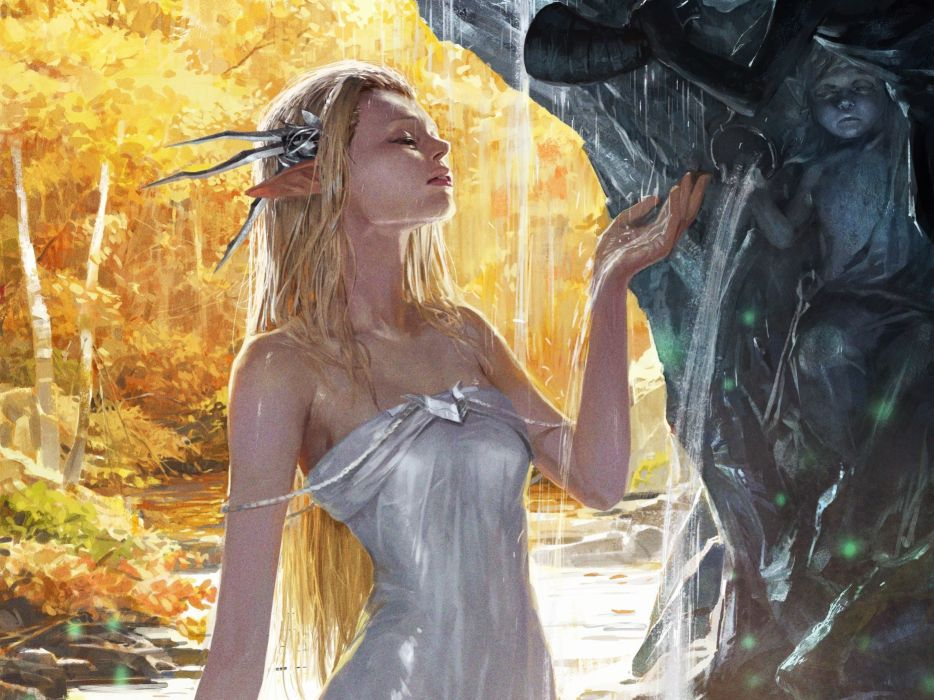 Legend of cryptids art drawing fantasy girl elf pixie blonde dress dress wet waterfall fountain sculpture statue forest autumn game fantasy wallpaper