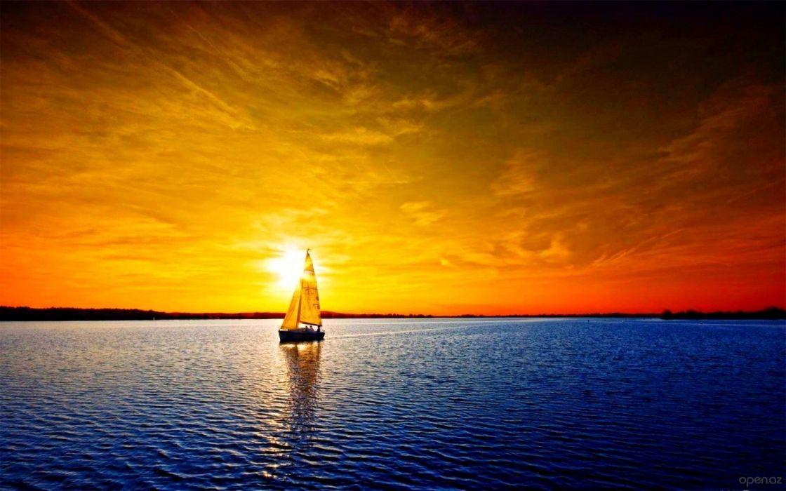 sailboat yacht sunset river wallpaper