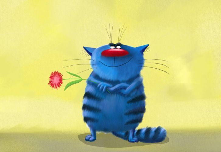 art painting cat flower wallpaper