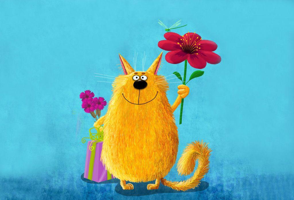 art painting cat flower gift wallpaper