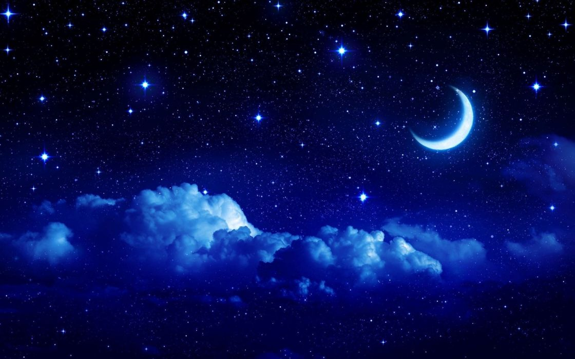 Night moon romance love stars sky clouds wallpaper