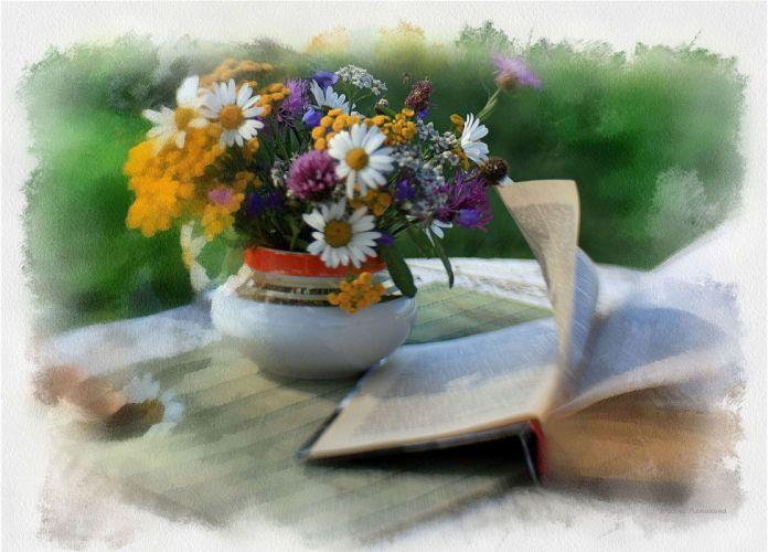 still life table vase flowers flower book wallpaper