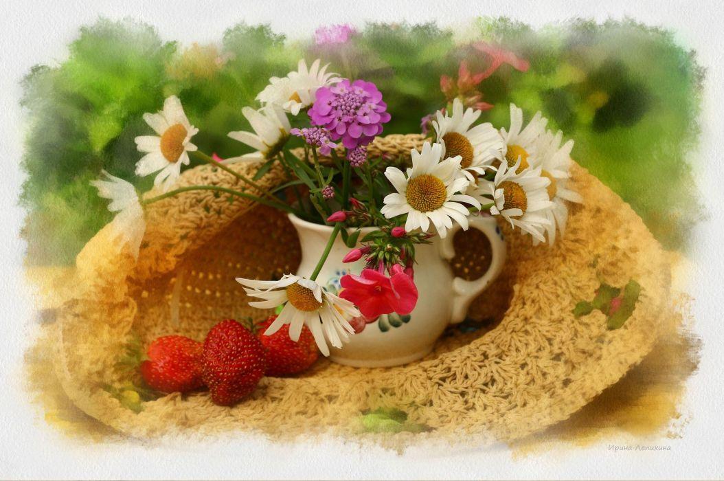 Still hat vase flowers flower berries strawberry wallpaper